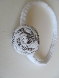 White and Brown Braided Tshirt Headband for Baby. $3.00, via Etsy.