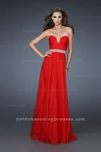 Chiffon A-line Strapless Red Homecoming Dresses 2013 with Pleated Bodice Affordable