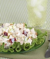 Healthy Chicken salad 1 1/4 cup plain, nonfat yougurt 1/2 cup grapes (cut in half) 1/2 cup apple (chopped) 1/2 cup chopped walnuts or almonds 2 cups cooked, chopped chicken. Mix yogurt, grapes, apples and nuts. combine chicken and yogurt m...