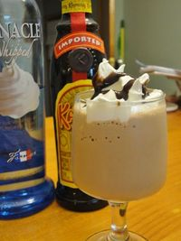 Mudslide Milkshake: In a blender, combine: 2 scoops of chocolate ice-cream, 1 shot of whipped cream vodka, 1 shot of coffee flavored liqueur, 2-3 coffee cubes, crushed. Milk to your desired consistency