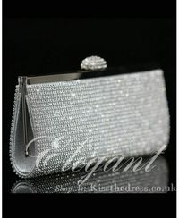 Handmade Clear Rhinestones Purse Clutch Evening Handbag b011