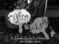 An OFFICER and His Lady Wedding Paddles, MILITARY WEDDING, Hand Held Photo Props, Wedding Decor, Fan, Wedding Sign. $36.00, via Etsy.