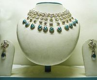 Off White and Blue Studded Necklace Set