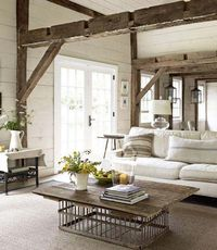Beautiful exposed beams. #laylagrayce #livingroom #frenchcountry