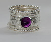 Unique Silver Wedding Ring - Purple Amethyst Ring - Stacking Ring - Birthstone Ring