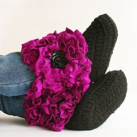 Purple and Black Ruffle Infant Crochet Boots by babybuttercup, $25.00