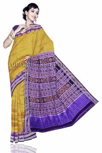 UNM3636--Lovely golden mustard pochampally pure silk sari without blouse.This tie & dye saree has got purple ikkat prints along patola weaving with maroon floral ikat print resham border. It has mustard floral ikkat printed designer purple pallu. It i...