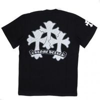 Black Chrome Hearts T-shirt with White Printed Cross
