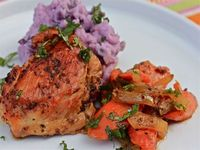 Chicken En Escabeche with Purple Mashed Potatoes
