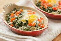 Parmigiano Reggiano Baked Eggs with Swiss Chard (or kale!) - this would be great for Sunday brunch.
