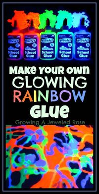 This GLOWING RAINBOW glue is simple and inexpensive to make and there are so many fun ways to use it in ART and PLAY!