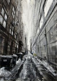 Chicago Alley.- oil painting by Valerio D'Ospina.