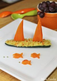 Zucchini Boats with Carrot Fish