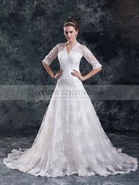 V Neck Lace over Satin A Line Wedding Dress with Half Sleeves