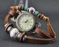 leather wrap watch, leather band wrist watch,wooden beads watch, leather wrist watches, Leather watch bracelet pers