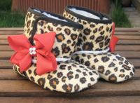 Rockabilly Baby Girl Cheetah Crib Boots With by RockkandyKids, $15.00
