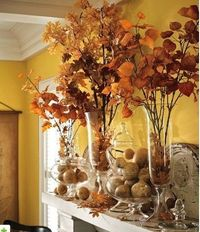 Fall/Thanksgiving decor- love the dried branches