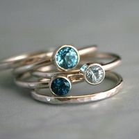 Stacking Rings Topaz & Aquamarine, Sterling Silver, Ocean Blue, Stackable Ring Band, Stack Ring, Statement Rings.