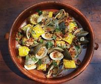 Steamed Corn with Clams and Bacon. As summer fun begins this will be one to cook.