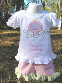 $36.99 Princess Carriage Ruffle Shorts Set sizes 6m 6T by juliesonny