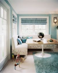 banquette with exposed feet - will not block baseboard heat