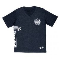 Mens Chrome V Neck T shirt Hearts Dark Grey