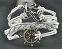 Handmade charm bracelet,antique ilver rudder Anchor infinity pendant bracelet,white braid leather Bracelet Rope B