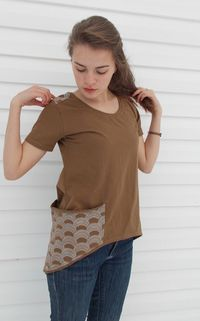 high-low tee with big side pocket