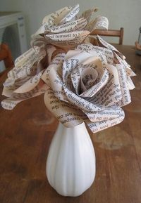 beautiful bookprint paper bouquet