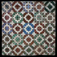 Double LIght and Dark Log Cabin, 75�€� x 75�€�,circa 1880. Made of cottons and silks. Collection of Julie Silber; posted by Laura Nownes at See How We Sew