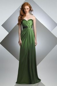 STYLE: 200 Floor length sheath, sweetheart neckline with band at natural waist. Available two-tone or solid.