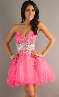 Beaded Strapless Sweetheart Pink Layered Tulle Mini Dress