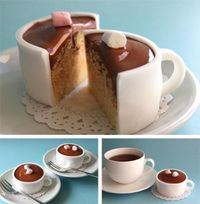Cup cake tea cups - I like this a lot. Reminds me of the tea party scene in Alice in Wonderland where the march hare sliced the teacup in two. This is for you Kathy Barker!