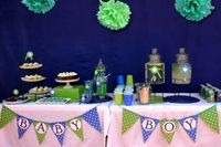 blue and green themed baby shower